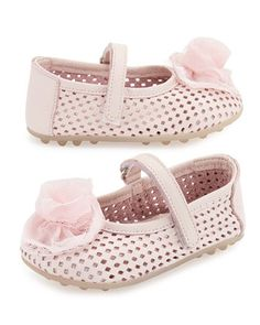 Laser-Cut+Leather+Mary+Jane+Flat,+Pink,+Toddler+by+Babywalker+at+Neiman+Marcus.