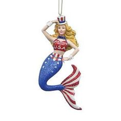 """6/"""" USA Mermaid Hanging Ornament /""""Mer-MADE in the USA/"""" Proud to be an American"""
