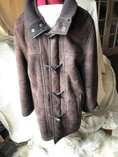 Andrew Marc MENS SHEARLING SHEEPSKIN LEATHER COAT JACKET LARGE Chocolate Brown!!  | eBay