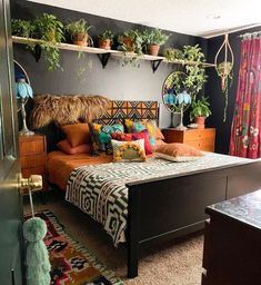 Normal components for a boho bedroom include a lot of plants and chocolate brown. - Normal components for a boho bedroom include a lot of plants and chocolate brown shaded bed. Bohemian Bedroom Decor, Boho Living Room, Living Room Interior, Nature Bedroom, Bohemian Bedding, Bohemian Interior, Boho Bed Room, Wall Decor Boho, Hippie House Decor
