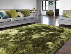 Teppich Hochflor Langflor Fußbodenteppich PLUSH SHAGGY RUG Green Grün A100224