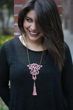 Dusty pink bohemian tassel necklace//Boho chic by MypreciousCG