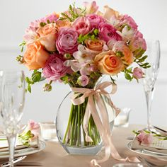 The FTD® Peach Silk™ Arrangement creates a sweet centerpiece to accent your tables for your formal occasion. Fresh peach roses, pink freesia, pink ranunculus, pink roses and lush greens are brought to Amazing Flowers, Silk Flowers, Beautiful Flowers, Peach Flowers, Tropical Flowers, Fresh Flowers, Seasonal Flowers, Floral Centerpieces, Wedding Centerpieces