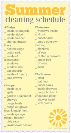 Here is the Summer house cleaning list I promised you! One more in my series of organization printables to help keep you on track and not overwhelmed. via (Diy House Cleaning) House Cleaning Checklist, Household Cleaning Tips, Diy Cleaning Products, Cleaning Solutions, Deep Cleaning, Cleaning Hacks, Cleaning Lists, Spring Cleaning Schedules, Weekly Cleaning