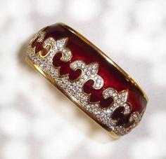 Vintage RARE SWAROVSKI Fleur De Lis Red Enamel Bracelet Signed SWAN LOGO.  I am selling this for $150 on eBay user id  1rampagecat.