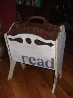 Vintage magazine Rack with decoupage book page trim. Modern Magazine Racks, Wooden Magazine Rack, Magazine Table, Wood Magazine, Repurposed Furniture, Vintage Furniture, Painted Furniture, Refinished Furniture, Flip Flop Storage
