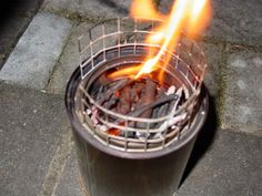 DIY wood gasification stove.