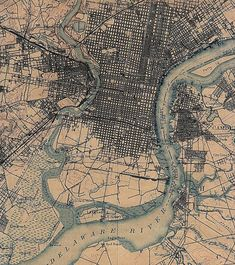 Philadelphia map Vintage map of Philadelphia Antique
