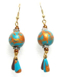 Earthy blue tone polymer clay earring