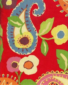 Red Paisley Upholstery Fabric  2 1/2  Yards by vickifab on Etsy