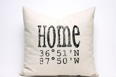 personalized pillow longitude and latitude pillow map by coverLove, $35.00