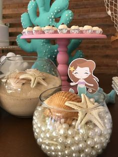 Baby shower ides for girs centros de mesa first birthdays super ideas Mermaid Theme Birthday, Little Mermaid Birthday, Little Mermaid Parties, Mermaid Baby Showers, Baby Mermaid, Mermaid Party Decorations, Little Mermaid Centerpieces, Shower Centerpieces, Centerpiece Ideas
