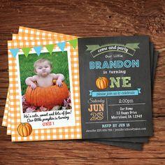 Pumpkin birthday invitation. Chalkboard fall boy by CrazyLime