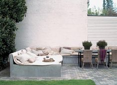 Image result for built in outdoor table seating
