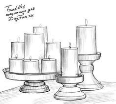 Как нарисовать свечи карандашом поэтапно 4