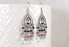 Boho Earrings, Chandelier Earrings, Etsy Earrings, Crystal Beads, Crystals, Jewelry Cleaning Cloth, White Ombre, Plum Purple, Faceted Glass