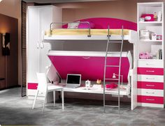 awesome! table under bottom bunk
