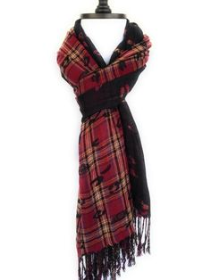 Red Plaid Scarf Men Tartan Scarf Mens Scarf Christmas Gift For Men - Winter Scarves For Women Holiday Gift For Women Gift For Her THE❤BEAST❤SHOP❤OFFERS❤