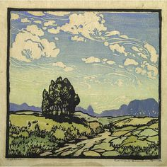 High Skies, 1922 by Frances Hammell Gearhart Californian artist (occasionally taught by Charles H. Woodbury) known for her colour woodcuts of the Sierras, the Pacific Coast, and the area around Big Bear Lake. Art And Illustration, Linocut Prints, Art Prints, Block Prints, Wood Engraving, Watercolor Landscape, Print Artist, Woodblock Print, Graphic