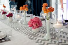 Thinking of these grey/white table runners on the white table cloths, with coral, pinks and white in the flowers!