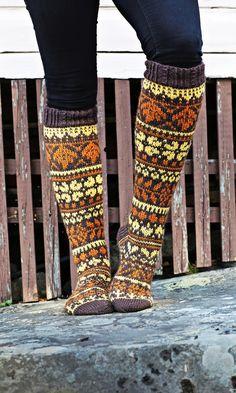 Käpyhyasintti – tässä helppo ohje! | Meillä kotona Fair Isle Knitting, Knitting Socks, Knit Socks, Rainbow Dog, Leg Warmers, Mittens, Lana, Knit Crochet, Crochet Socks