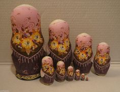 Big Russian Matryoshka - Wooden Nesting Dolls - 10 Pieces Unique Coloring | eBay