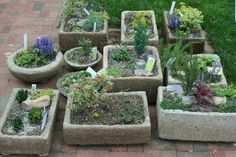Hypertufa Garden Pots... I am so doing this in the summer, also adding the cracked marbles to the side.
