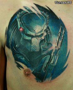 tattoo Alien tatuado no mamilo, tatuagem Alien tatuado no mamilo