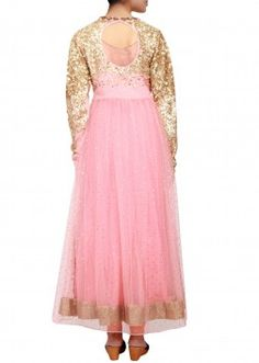 Peach anarkali in cotton silk and net embellished in sequin and kardana only on Kalki