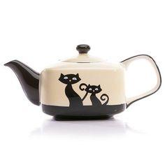 Rescue Me Now Tuxedo Cat Teapot, 7-3/4-Inch