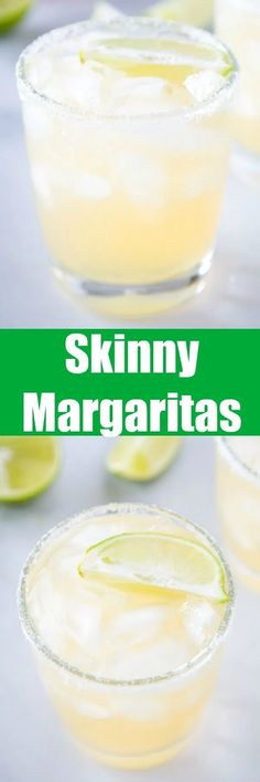 Skinny Margaritas - a light and refreshing margarita that has fewer calories! It is made with fresh lime juice fresh orange juice plenty of tequila and a little agave for sweetness! Mexican Food Recipes, Dessert Recipes, Desserts, Dinner Recipes, Drink Recipes, Breakfast Recipes, Fresh Lime Juice, Orange Juice, Kitchen Recipes