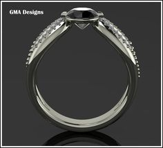 Solitario Diamante Negro 14k White gold ring with by GMADESIGNS1, $899.00