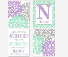 Girl Nursery Wall Art Mint Purple Flower Dahlia Mums Burst You Are My Sunshine Personalized Prints Baby Nursery Decor SET OF 4 UNFRAMED PRINTS