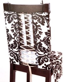 What a great way to cover up unfortunate dining room chairs. Going to have to do this to my chairs!