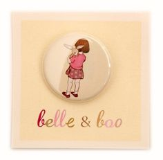 Belle and Boo Pink Button by belleandboo on Etsy (Accessories, button, art, print, bunny, pink, friends)