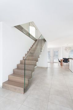 Folding staircase Wooden staircase Glass country m Stairs Window, Glass Stairs, Glass Railing, House Stairs, Home Stairs Design, Railing Design, Interior Stairs, House Design, Glass Balcony