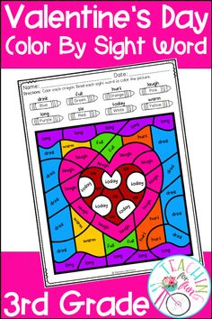 These 3rd Grade Color By Code Sight Word activities are perfect for Valentine's Day! NO PREP! Just simply print and go! A black and white student version is included along with a color-coded answer key. Use these Color By Code Sight Word activities for: Daily 5 – Work on Words, Early Finisher Activities, ELL and ESL Activities, Emergency Sub Tub Activities, Holidays, Homeschool, Homework, Inside Recess Activities, Literacy Center Activities, Morning Work, RTI, SLP Activities, and Thematic Units.