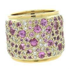 Pomellato Sabbia Pink Sapphire Diamond 18k Gold Wide Band Ring