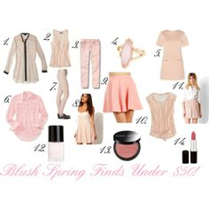 """Blush Spring Finds Under $50"" by Big Curls and Pearls blog"