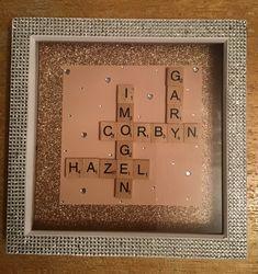 Family name scrabble tile GLITTER frame