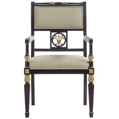 Forum Chair  (260)  This Regency chair was a favorite of Mrs. Draper's and today is used throughout The Greenbrier in West Virginia. The detailed carvings on the fluted, front legs, top crest rail, and feather detail in the back are accented with gold paint. The chair features a tight seat, upper upholstered back and upholstered arm pads.     COM required: 1.25 yards plain fabric.     As Shown: Finished in Bark (61) and Fabric B823-38