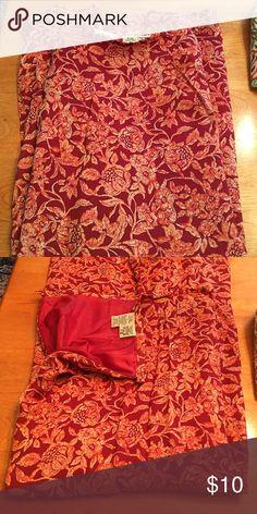 Maxi skirt Red/ orange floral pattern maxi skirt. Side zipper-Like new Eddie Bauer Skirts Maxi