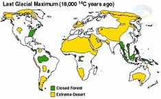 Map of Last Glacial Maximum years ago, notice only habitable areas are in appalacia, brazil forest & and SE Asia/ Indonesia, so most of people must have migrated to/from those areas Geography Map, Ice Sheet, Image Map, Ice Age, Environment, Diagram, This Or That Questions, Maps, Places