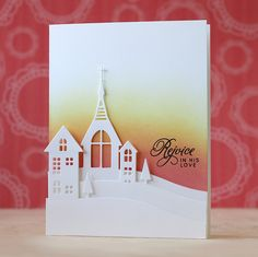 Laura not only showed how to use Simon Says Stamp's Church & Village dies for a non-Christmas card, she cut the church partially to keep it as part of the grounding, then used a craft knife to create a hill like those on the village dies.