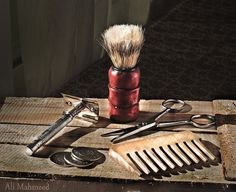 Still Life, The Barber by Ali Mahmeed Shaving Trimmer, Shaving Brush, Wet Shaving, Tony Barber, Barber Poster, Barber Tips, Vintage Hair Salons, Shaved Hair Cuts, Barber Apron