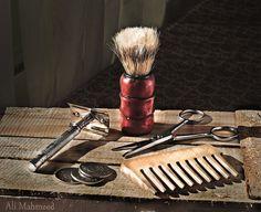 Still Life, The Barber by Ali Mahmeed Tony Barber, Barber Poster, Barber Tips, Vintage Hair Salons, Shaving Trimmer, Shaved Hair Cuts, Barber Apron, Barber Shop Decor, Trimmer For Men