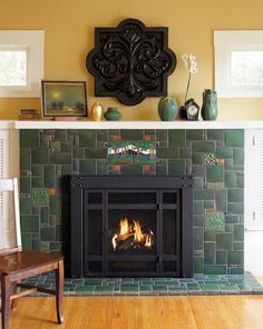 Sources for arts crafts tile fireplace tile surround for Craftsman gas fireplace