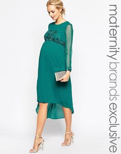 Maya Maternity | Maya Maternity Midi Dress With Embellished Bodice And Cuff at ASOS