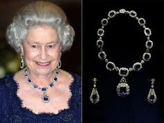 Queen Elizabeth Jewelry Collection : KING GEORGE SAPPHIRE SUITE A tiara was commissioned by the Queen herself to go with this set of earrings, pendant and necklace given to her by her father as a wedding present. The original suite was created in 1850, but the tiara – and a matching bracelet – were not added to the set until 1963.