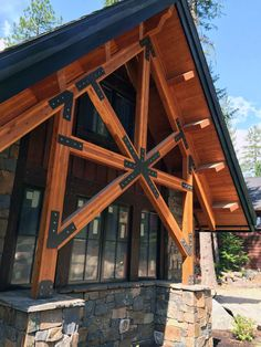 Pergola To House Attachment Code: 5164864371 Steel Trusses, Roof Trusses, Roof Joist, Tyni House, House Roof, Rustic Home Design, Rustic Decor, A Frame Cabin, Timber House